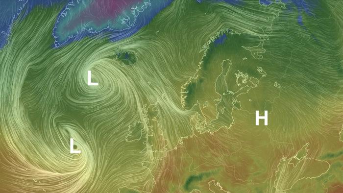 Temperatur og vind torsdag 11. oktober.