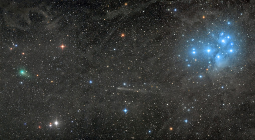 ROBOT-TELESKOP: Two comets with the Pleiades © Damian Peach