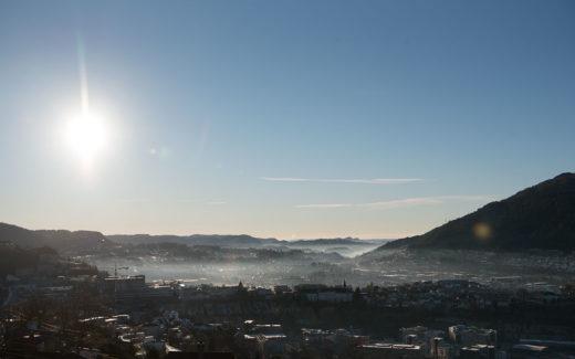 Inversjon i Bergen 24. oktober 2018.