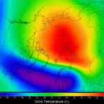 Temperarturen i stratosfæren 31.12.18. Kart: Severe Weather Europe