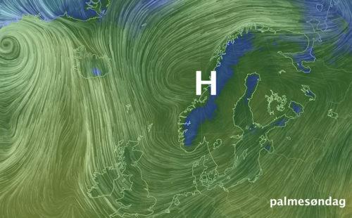 Høytrykk over Norge i påsken.